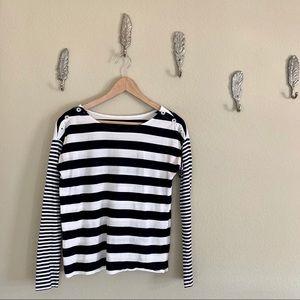 Loft Navy & White Striped Long Sleeve Top